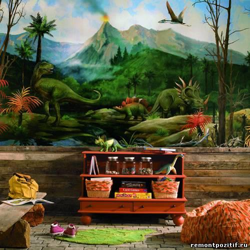 Дизайн детской комнаты Динозавры