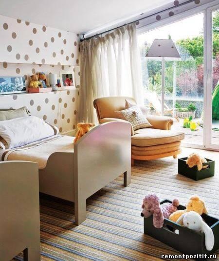 горошек в дизайне интерьера детской комнаты