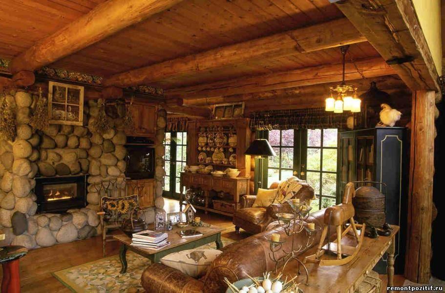 интерьер гостиной в стиле кантри