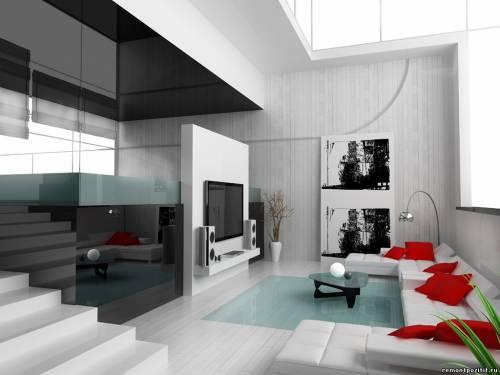 дизайн интерьера в черно белом цвете