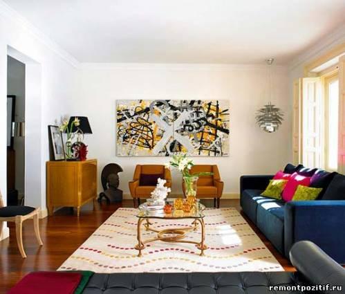 интерьер гостиной по собственному вкусу в стиле эклектика