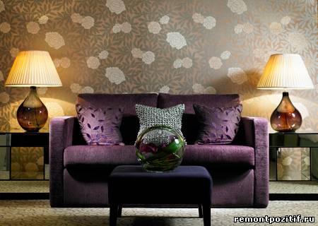 интерьер в стиле модерн с цветочными узорами
