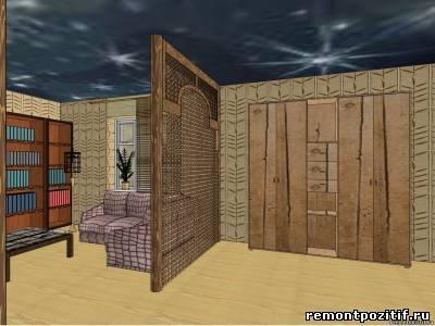 Гостиная и спальня в одной комнате в стиле сафари
