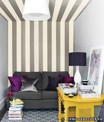 полоска в дизайне гостиной