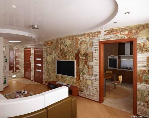 Фрески на стенах гостиной