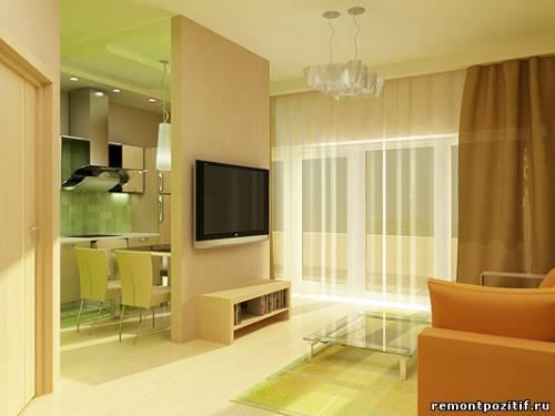 Дизайн интерьеров кухни гостиной