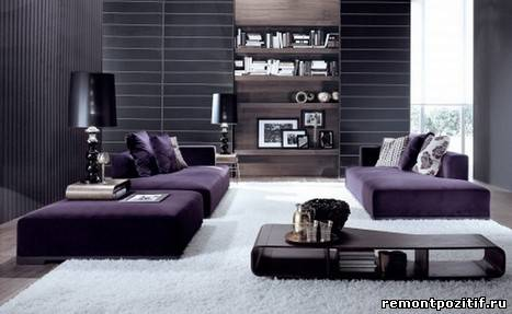 современный интерьер полосатой гостиной