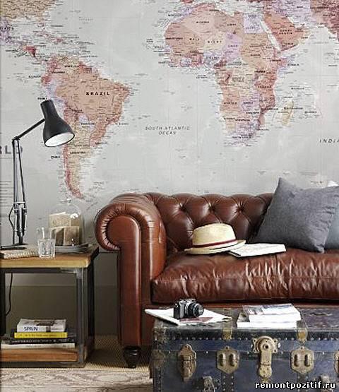 карта в дизайне стен