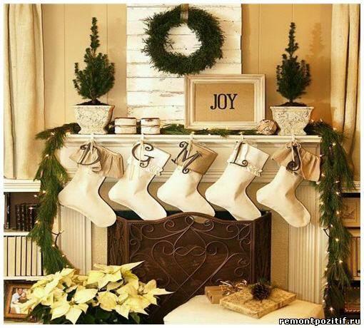 новогоднее украшение камина