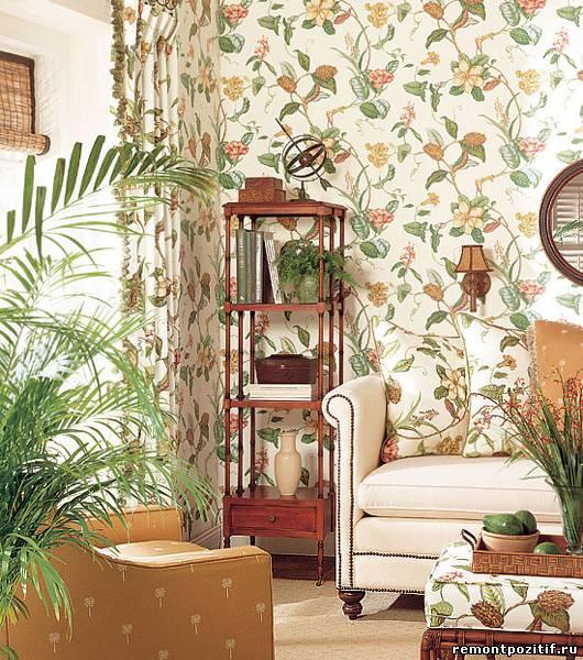 цветочные мотивы в интерьер гостиной