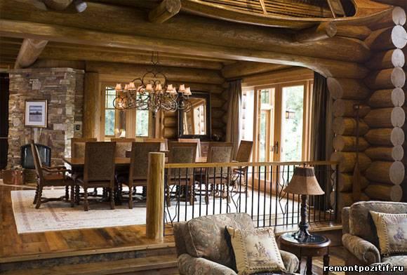деревенский стиль в гостиной загородного дома