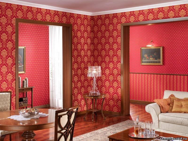 гостиная со стенами отделанными тканью