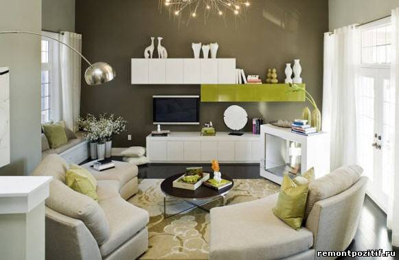 дизайн гостиной с телевизором