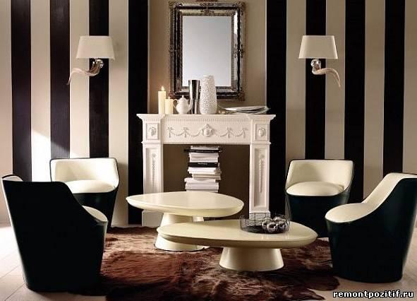 полосатый дизайн гостиной