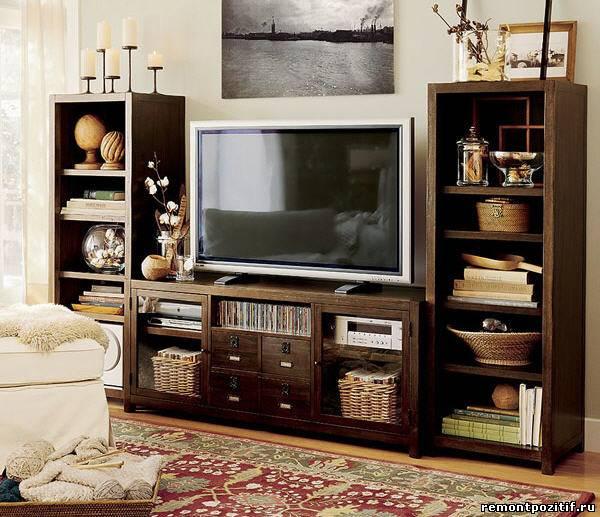установка телевизора в гостиной