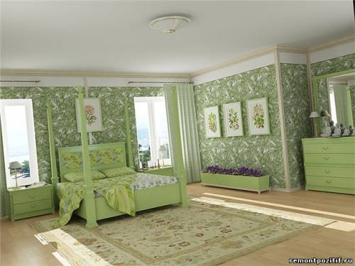 Спальня в зелёном цвете