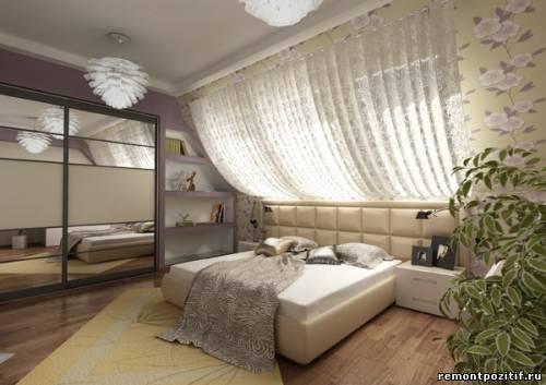 Спальни на мансардном этаже фото