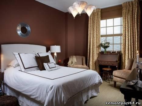 спальня оттенка черного чая