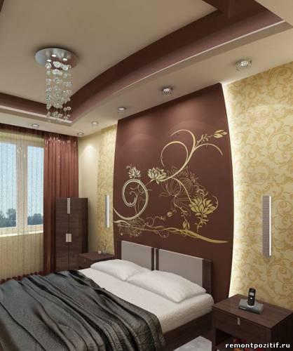 потолок из гипсокартона спальни