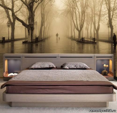 3D обои в спальне