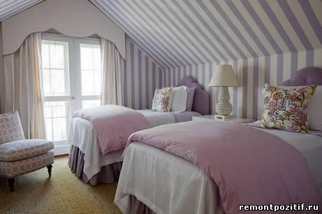 полоска в дизайне спальни