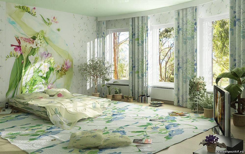 цветочные узора в интерьере спальни