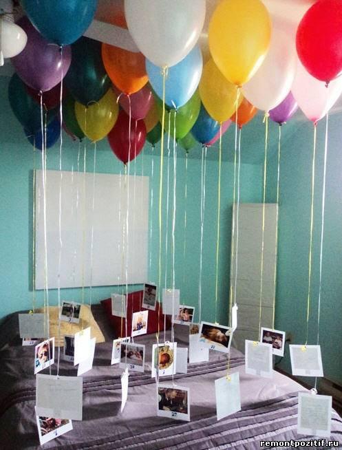 украшаем спальню воздушными шарами