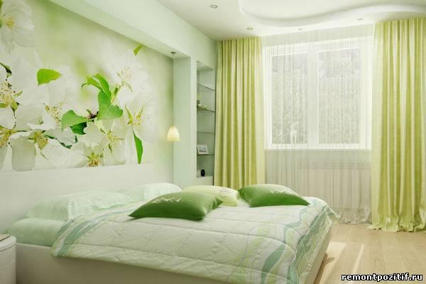 интерьер спальни с цветочными мотивами