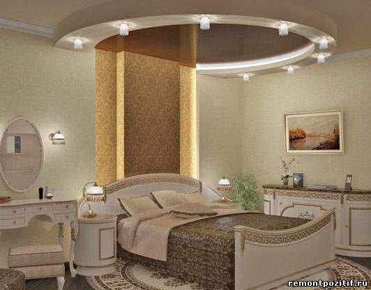 Потолок из гипсокартона как сделать в спальне 125