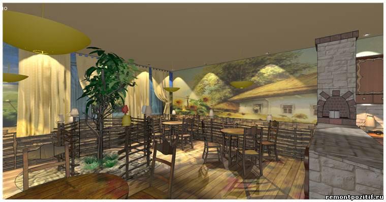Интерьер кафе в украинском стиле.  Дизайн-проект украинского кафе.