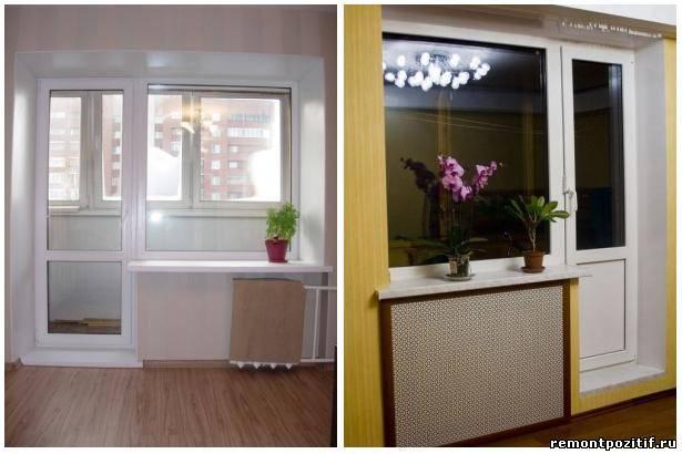 Оформление выхода на балкон из кухни или комнаты.