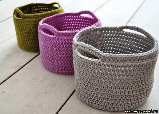 вязание из трикотажной пряжи крючком трикотажное вязание корзинок и