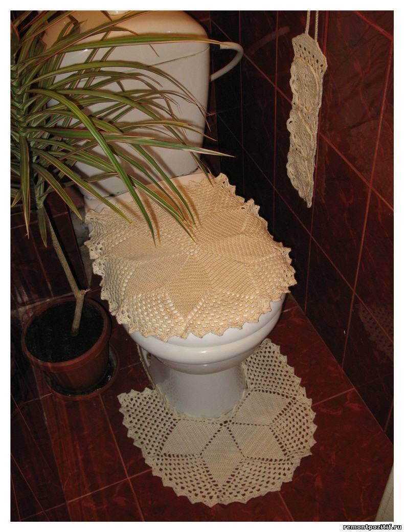 Ванной комнате и вязаные украшения и