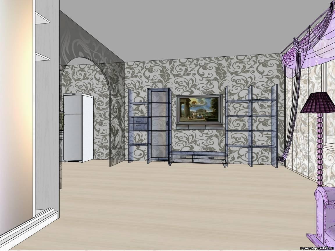 Интерьер с фиолетовым диваном