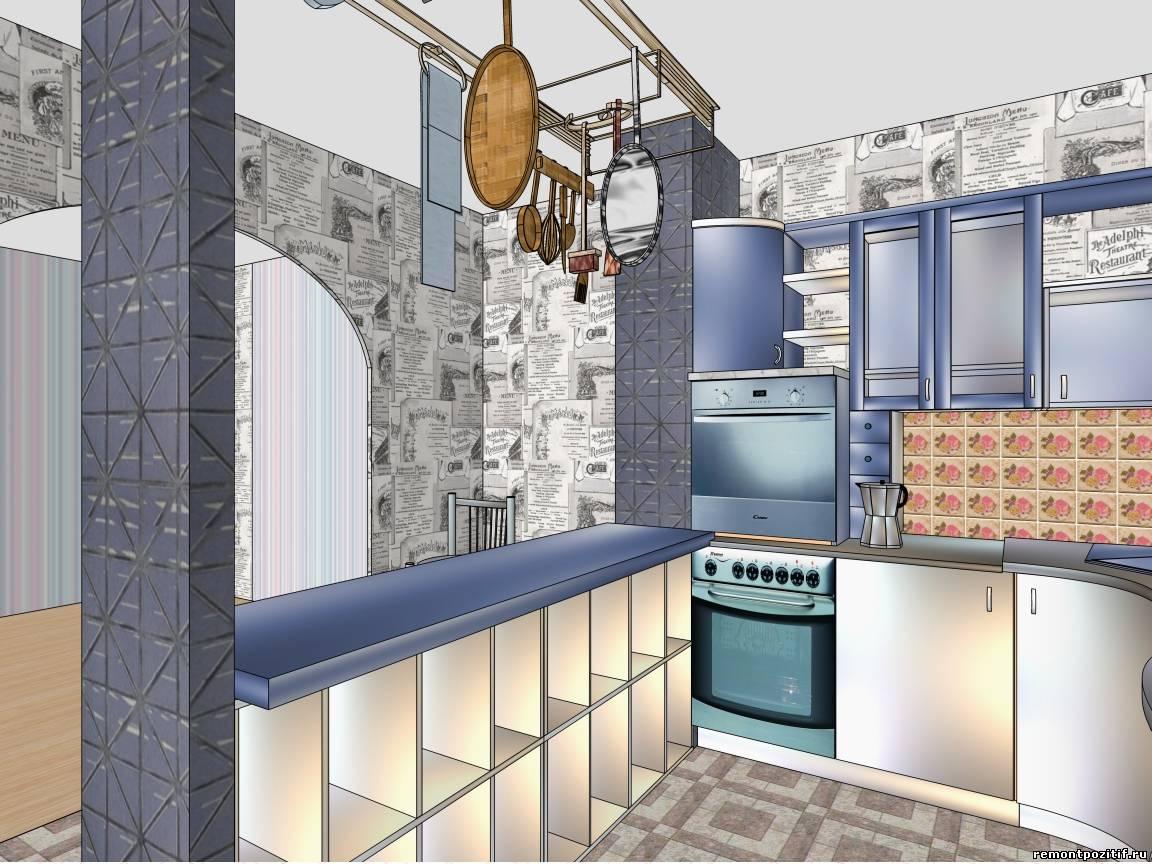 Интересный дизайн кухни 9 кв.м