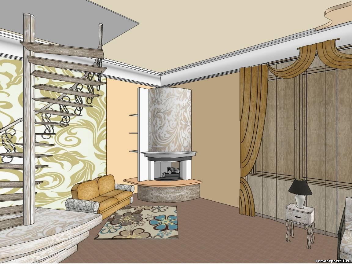 Лестница в гостиной фото примеры