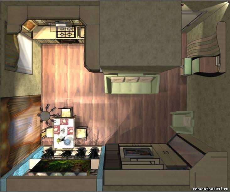 Дизайн стен в однокомнатной квартире