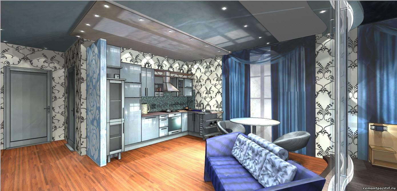 дизайн квартиры студии в стиле хай тек