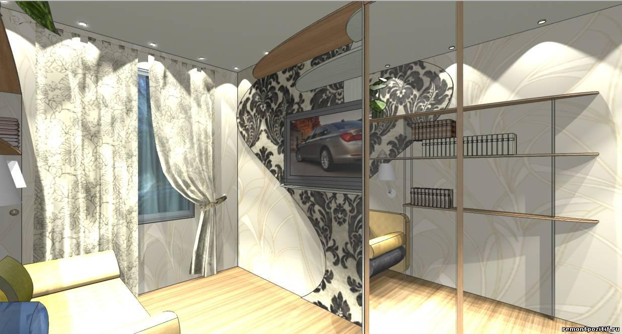 Дизайн узкой спальни 2 на 5